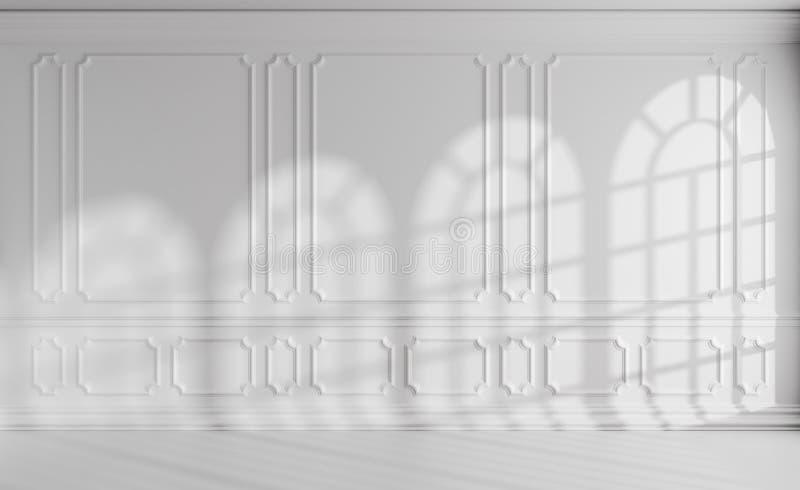 Sala branca com janelas arredondadas e a decoração clássica do estilo ilustração do vetor