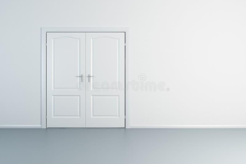 Sala branca com porta fechado ilustração royalty free