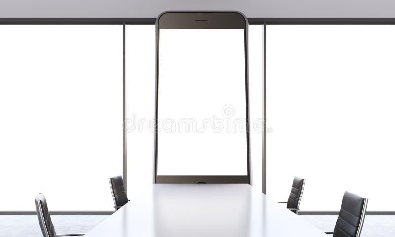Sala branca com smartphone ilustração do vetor