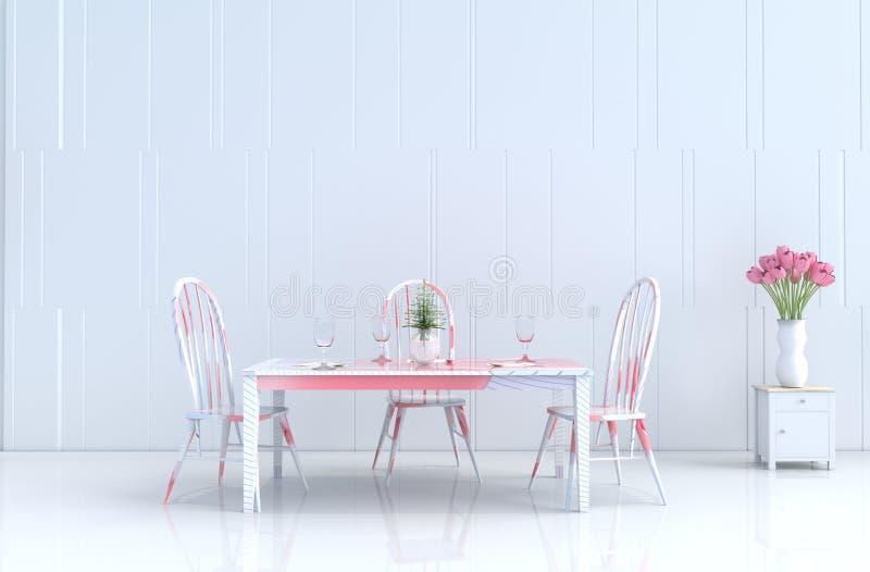 Sala branca comer do dia e do ano novo dos inValentine do amor 3d rendem foto de stock royalty free