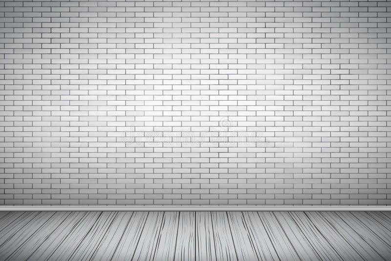 Sala branca da parede de tijolo ilustração royalty free