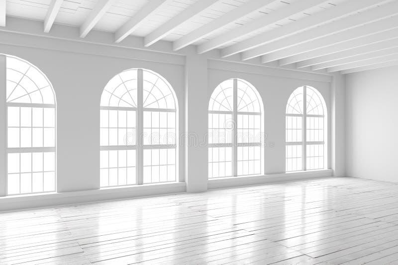 Sala branca interior, modelo do espaço aberto ilustração stock
