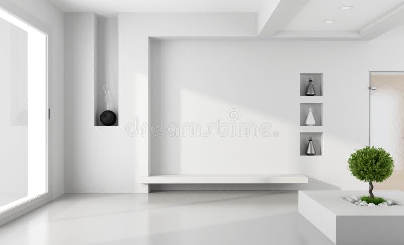 Sala branca minimalista ilustração royalty free
