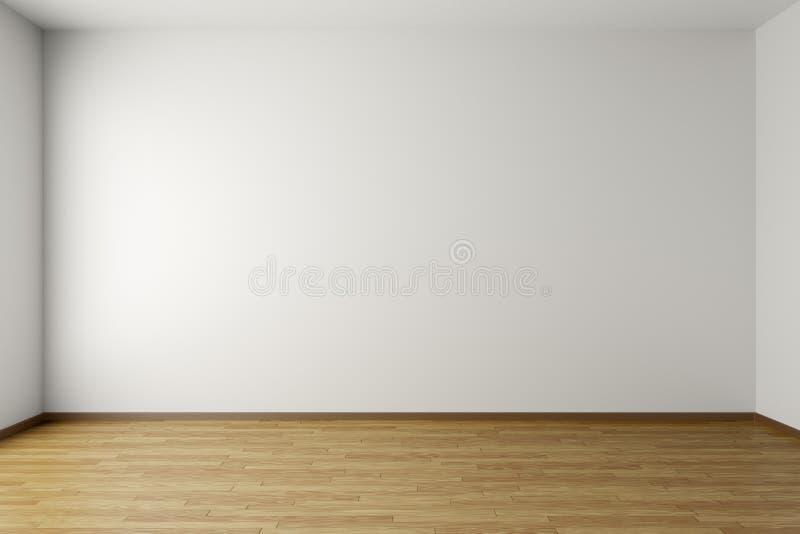 Sala branca vazia com assoalho de parquet ilustração do vetor
