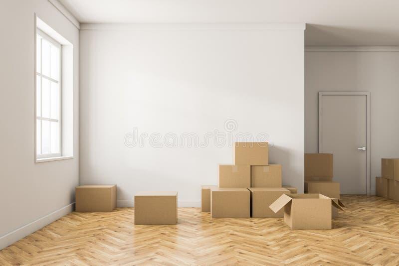 Sala branca vazia com caixas ilustração do vetor