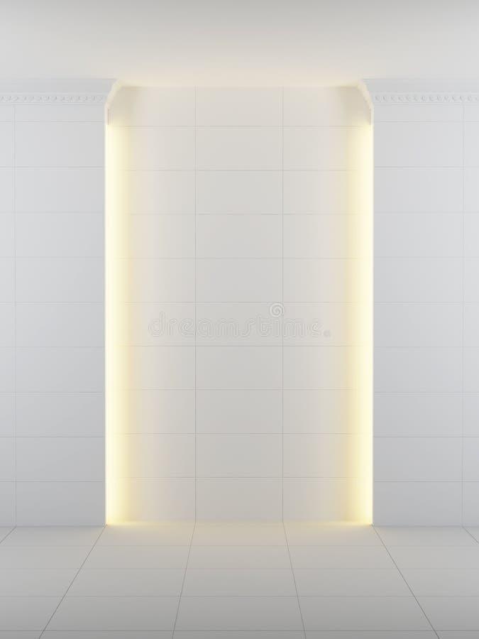 A sala branca vazia com ilumina??o, 3d rende ilustração stock