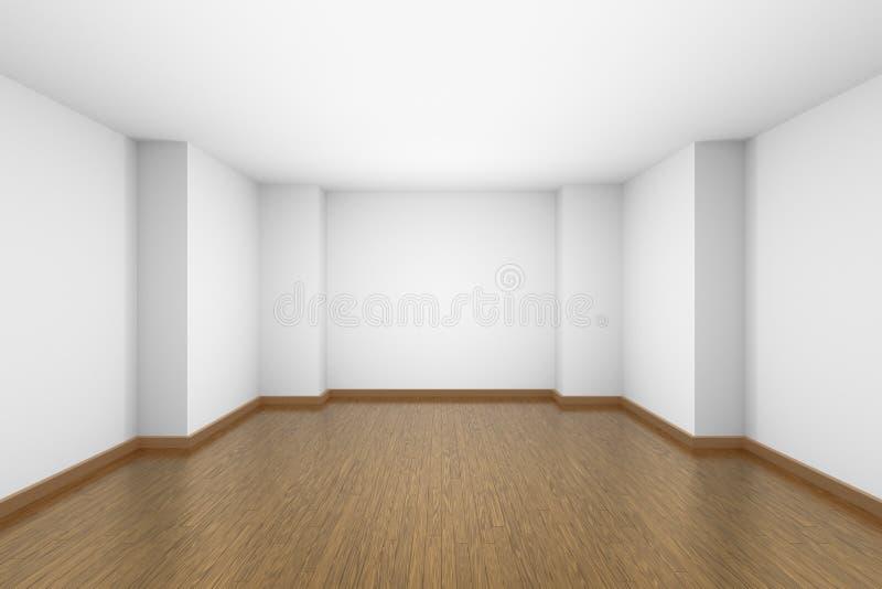 Sala branca vazia com o assoalho de parquet marrom da folhosa ilustração stock