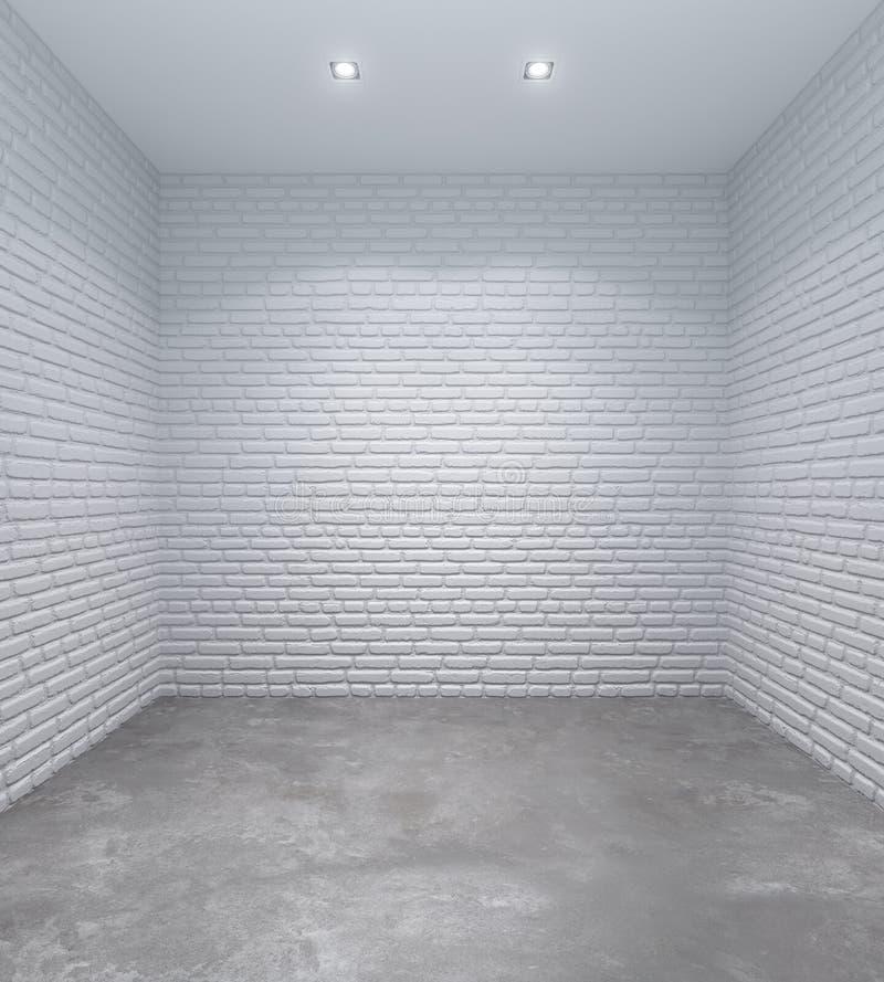 Sala branca vazia com paredes de tijolo ilustração royalty free