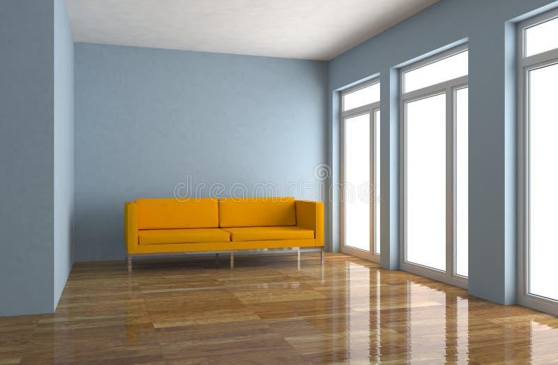 Sala brilhante moderna do design de interiores com sofá alaranjado ilustração do vetor