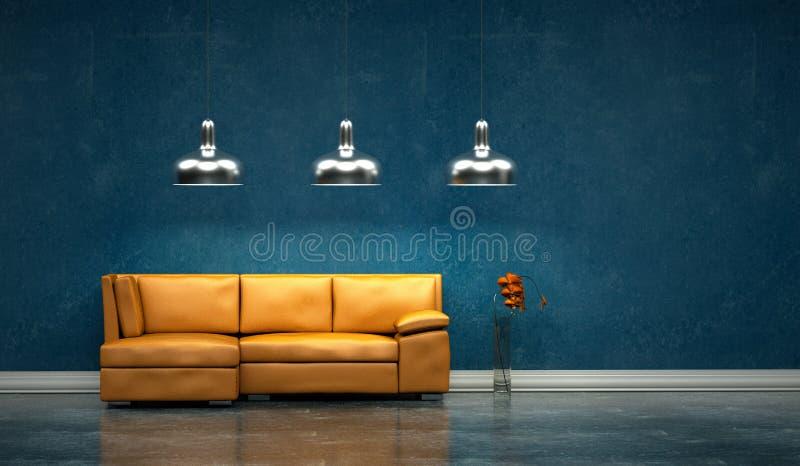 Sala brilhante moderna do design de interiores com sofá alaranjado ilustração royalty free