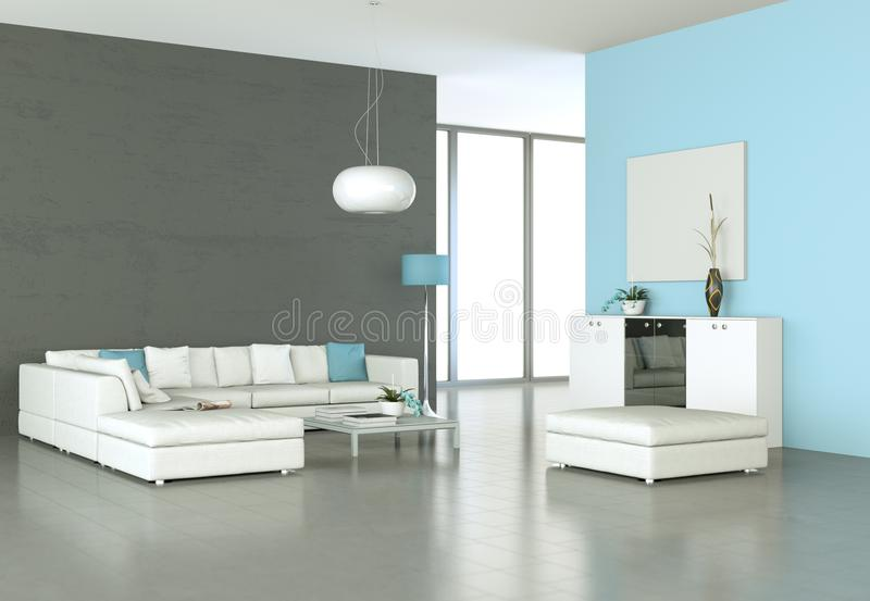 Sala brilhante moderna do design de interiores com sofá branco