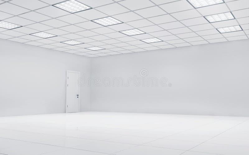 Sala brilhante vazia do escritório com luzes quadradas rendição 3d ilustração royalty free
