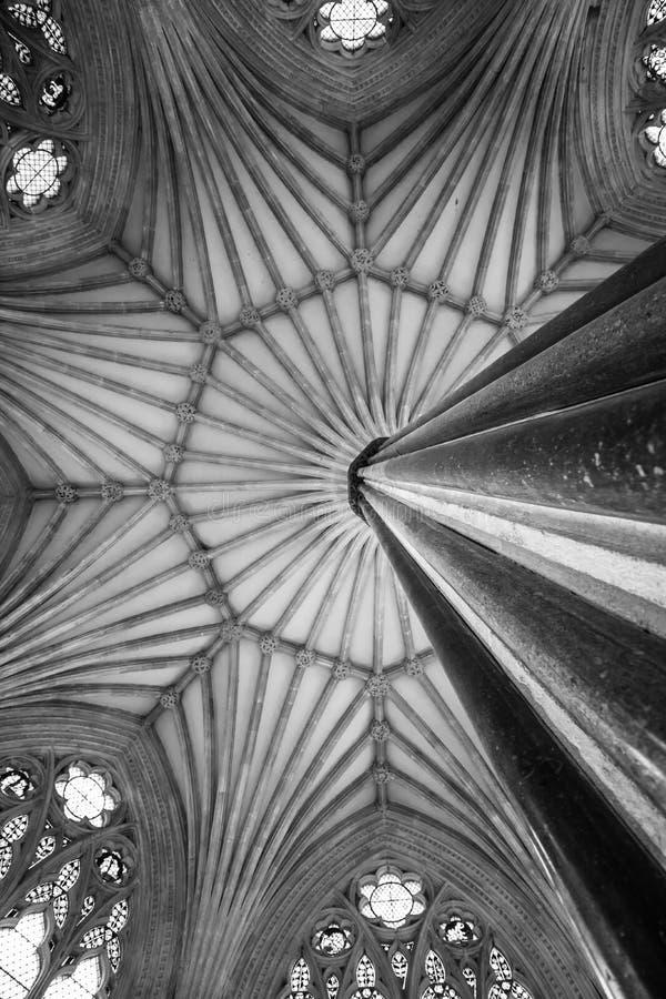 Sala capitolare della cattedrale di pozzi, Somerset fotografia stock