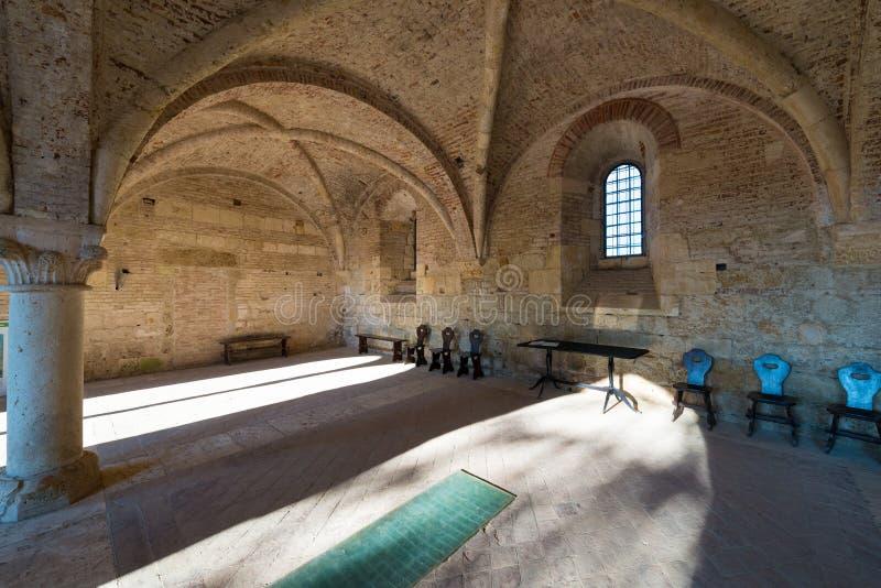 Sala capitolare dentro l'abbazia di San Galgano, vicino a Siena, Tusca immagini stock libere da diritti
