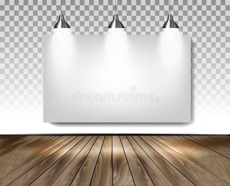 Sala cinzenta com três luzes e o assoalho de madeira Conceito da sala de exposições ilustração do vetor