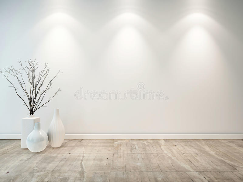 Sala cinzenta neutra vazia com vasos decorativos ilustração do vetor