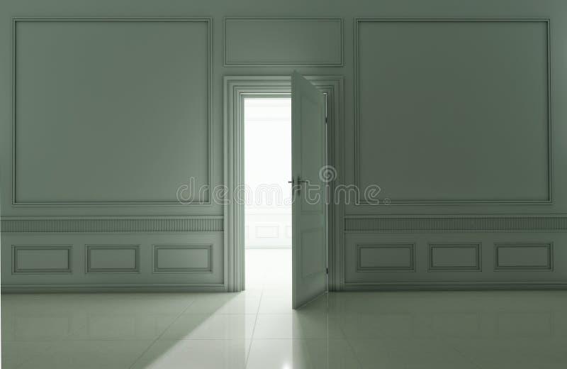 Sala clássica vazia com a porta aberta à luz ilustração do vetor