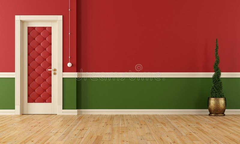 Sala clássica vermelha e verde ilustração stock