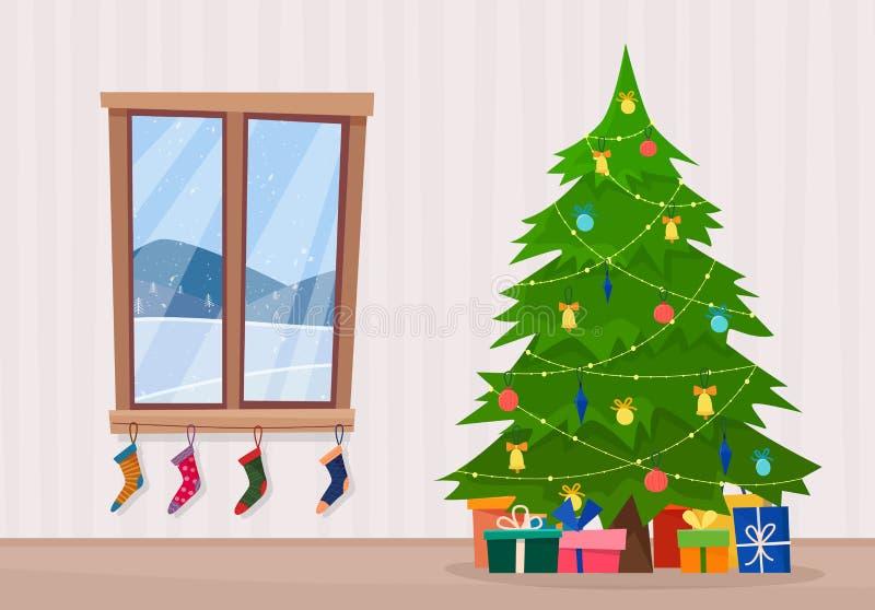 Sala com árvore de Natal e janela com paisagem e peúgas do inverno ilustração stock