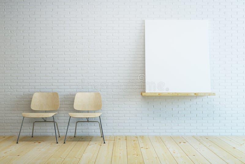 Sala com a cadeira dois e imagem vazia ilustração do vetor