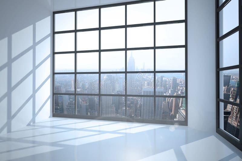 Sala com a janela que mostra a cidade foto de stock royalty free