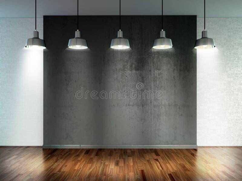 Sala com lâmpadas do projetor, espaço vazio com a parede de madeira do revestimento e de tijolo como o fundo ou o contexto para a imagem de stock royalty free