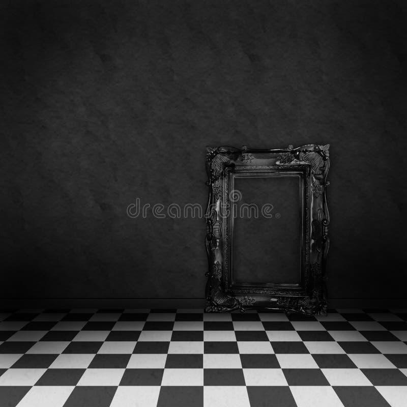 Sala com o verificador preto e branco no assoalho ilustração stock