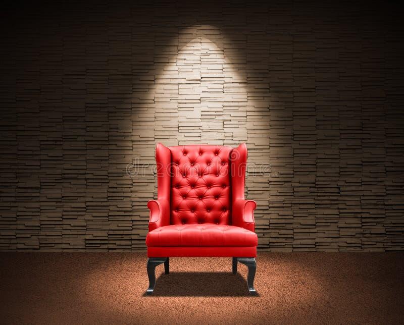 Sala com poltrona vermelha ilustração stock