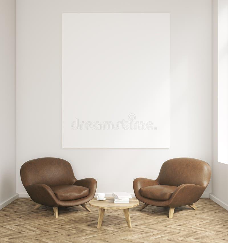 Sala com poltronas e tabela ilustração stock