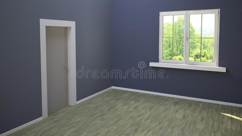 Sala com porta e janela de entrada, parquet azul da parede e da luz, janela vitrificada que negligencia um parque Sala vazia na p ilustração stock
