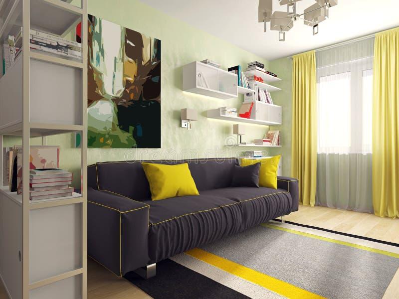 Sala com um sofá foto de stock