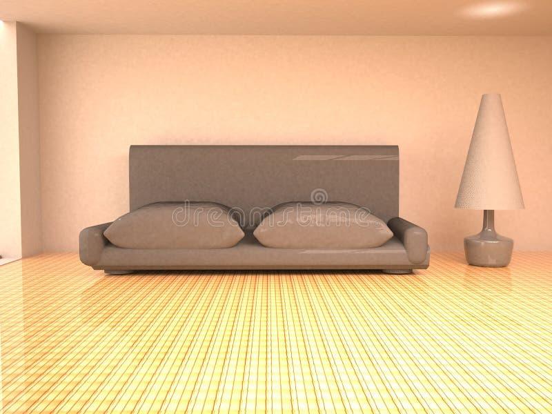 Sala com um sofá grande ilustração royalty free