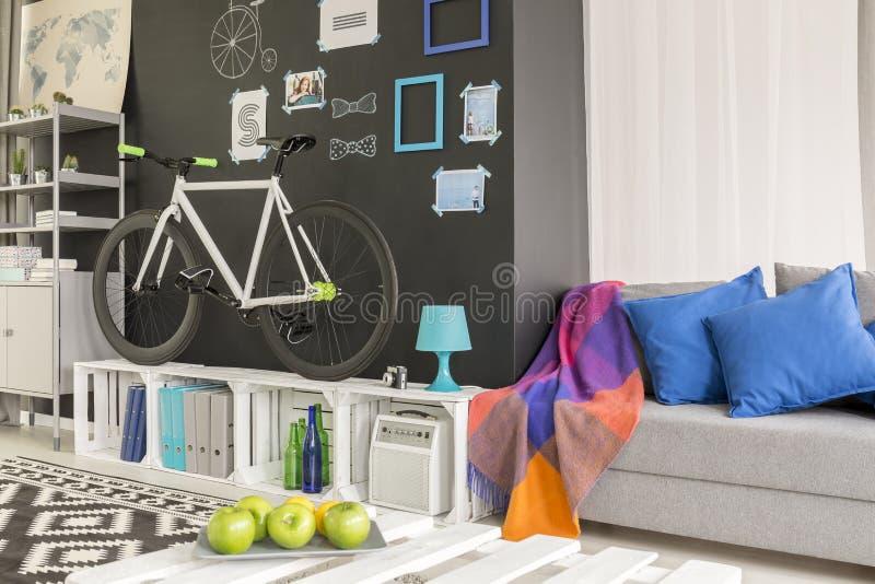 Sala com uma bicicleta imagem de stock