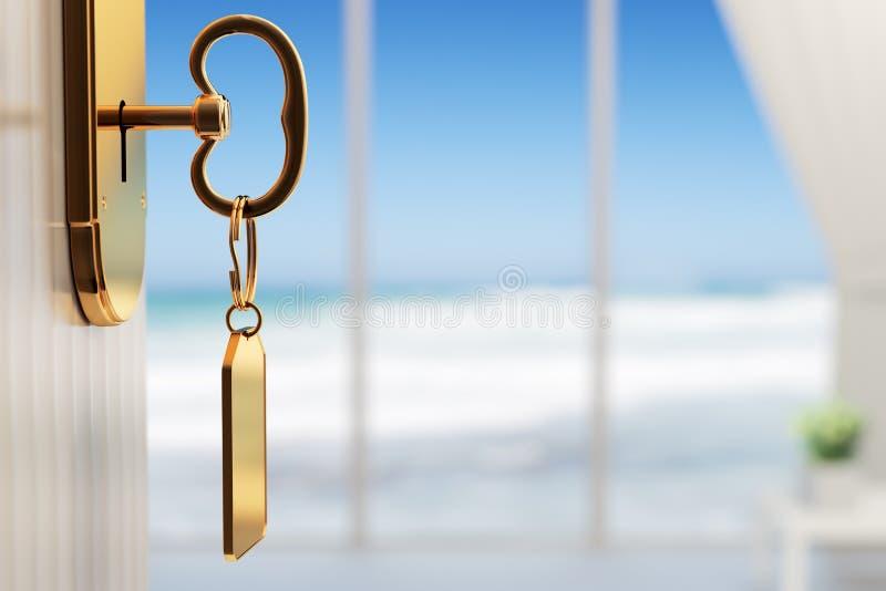 Sala com vista para o mar - o começo de umas grandes férias (rasas FAÇA imagens de stock royalty free