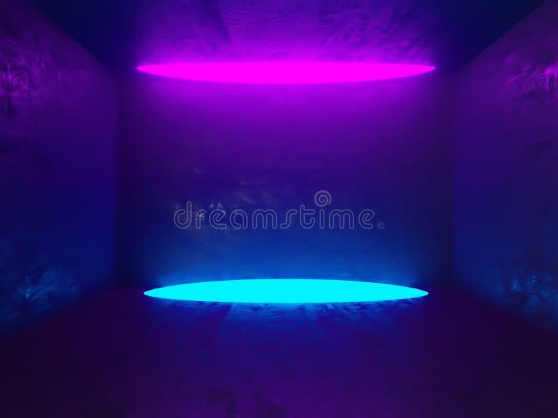 Sala concreta brilhante com cartaz vazio Galeria, exposição, anunciando o conceito Zombaria acima, ilustração 3D ilustração do vetor