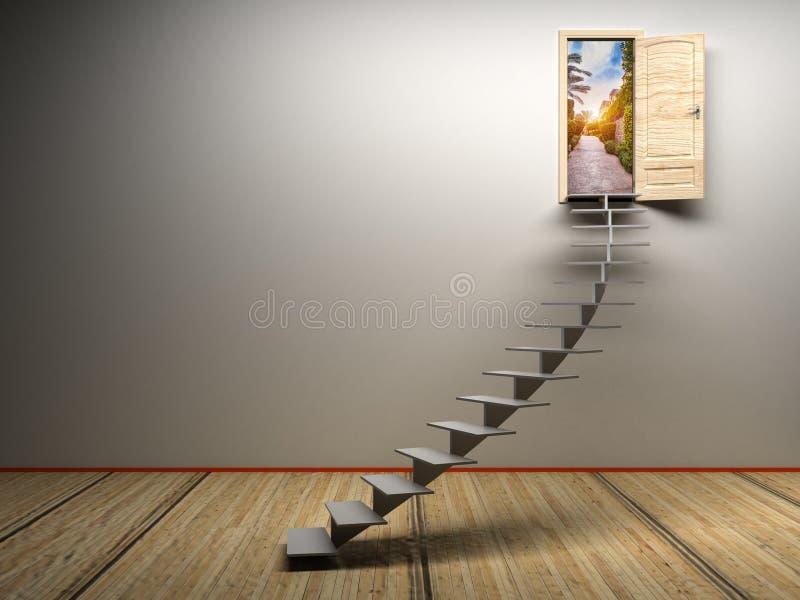 sala 3d branca com porta aberta ilustração do vetor