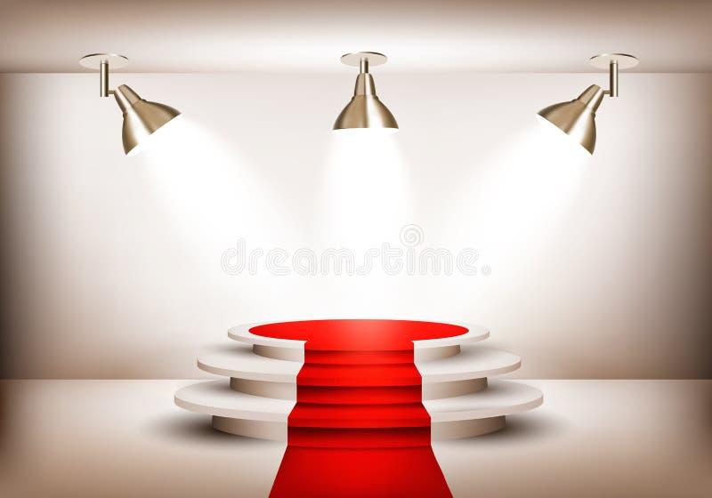 Sala d'esposizione con tappeto rosso che conduce ad un podio ed a tre luci illustrazione vettoriale