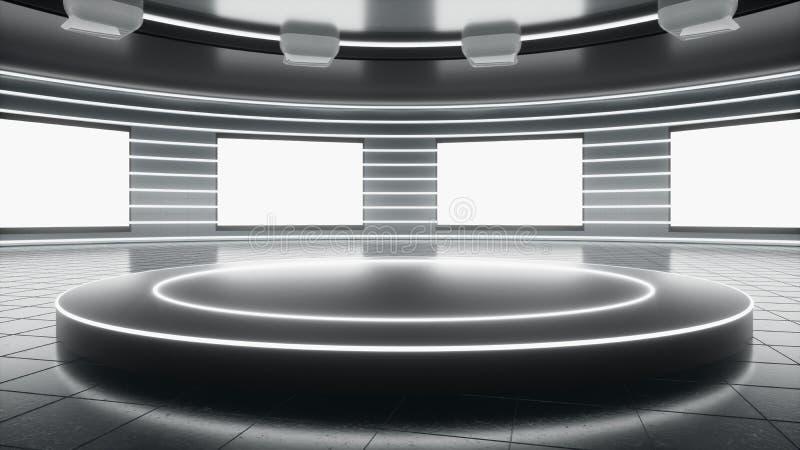 Sala d'esposizione tecnologica illustrazione vettoriale