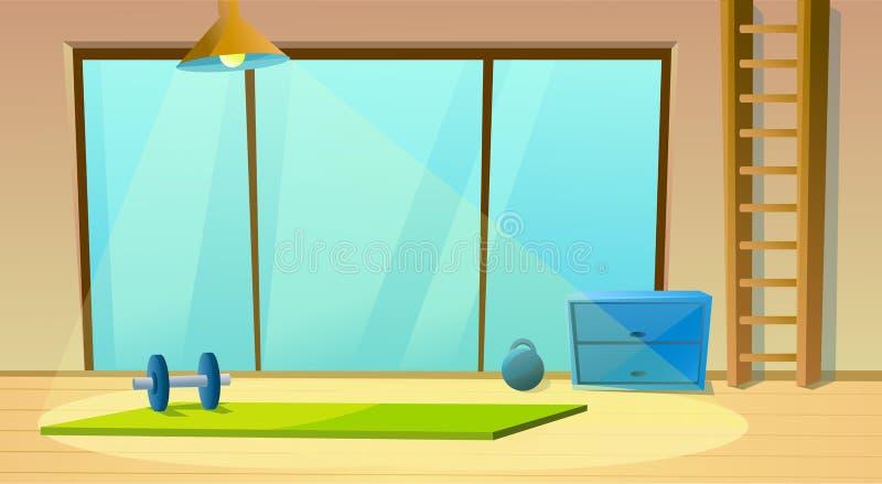 Sala da aptidão para a janela e os pesos da ioga meditation Interior do esporte Ginástico saudável Vetor ilustração royalty free