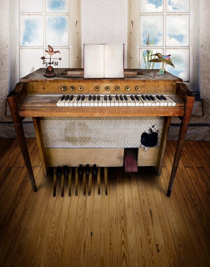 Sala da música com órgão fotos de stock royalty free