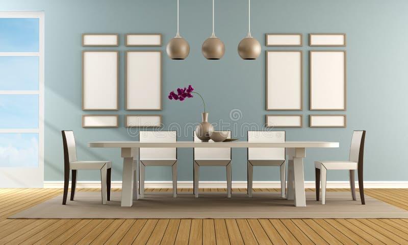 Sala da pranzo blu contemporanea illustrazione di stock illustrazione di stanza pavimento - Stanza da pranzo contemporanea ...