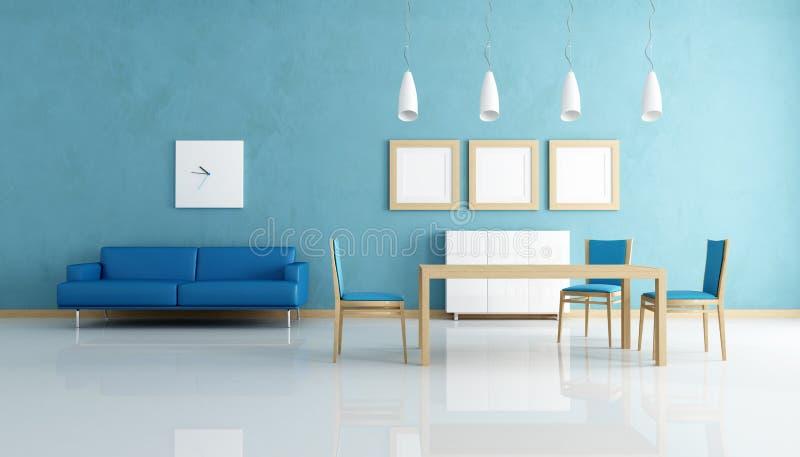 Sala da pranzo blu e bianca royalty illustrazione gratis