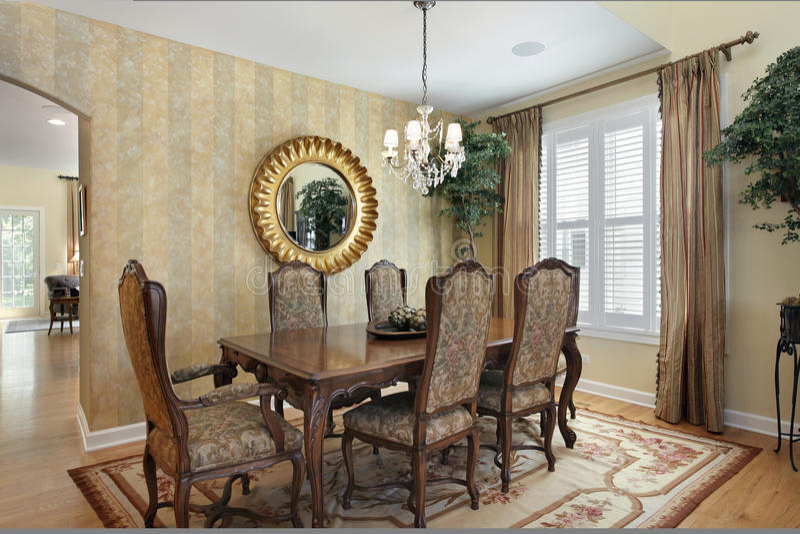 Sala da pranzo con le pareti a strisce immagine stock immagine di dispositivi disegno 63890553 - Pareti sala da pranzo ...