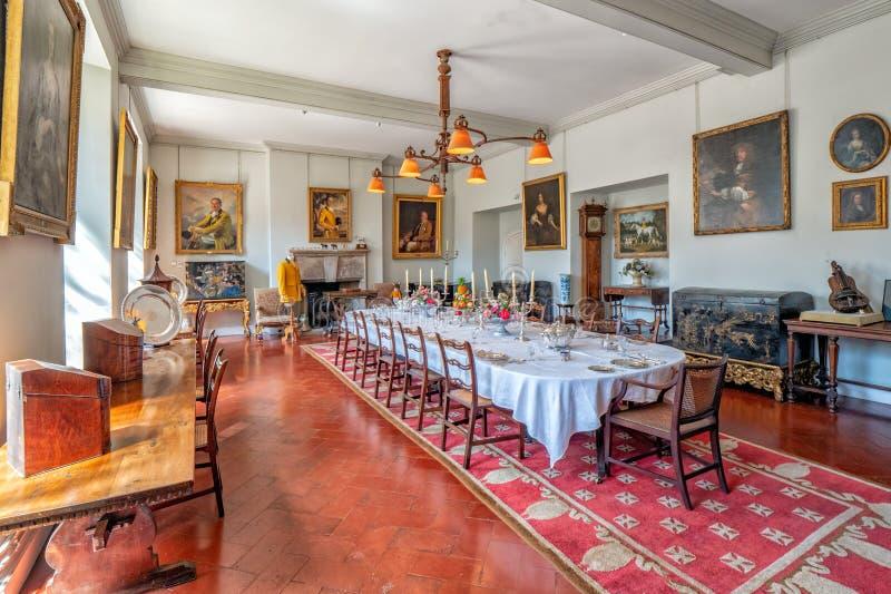 Sala da pranzo convenzionale, Berkeley Castle, Gloucestershire, Inghilterra fotografie stock libere da diritti