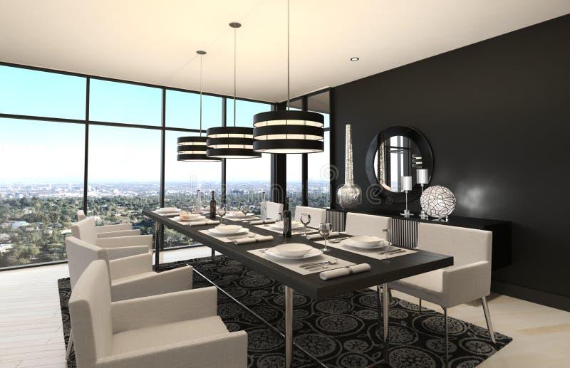 Sala da pranzo di progettazione moderna | Interno del salone illustrazione vettoriale