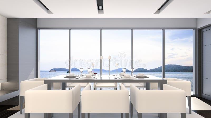 Rappresentazione Sala Da Pranzo 3d Di Vista Del Mare Illustrazione Di Stock Illustrazione Di Telaio Pranzare 84605103