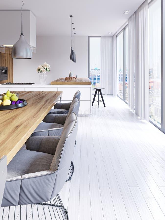 Sala da pranzo disegnata scandinava e cucina aperta di piano con la prospettiva della città illustrazione vettoriale