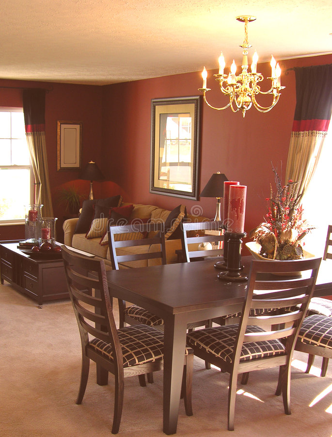 Sala da pranzo e stanza di famiglia fotografia stock