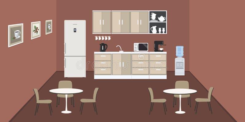 Sala da pranzo nell'ufficio illustrazione vettoriale