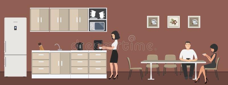 Sala da pranzo nell'ufficio Caffè della bevanda degli impiegati di concetto alla tavola Intervallo per il caffè illustrazione vettoriale